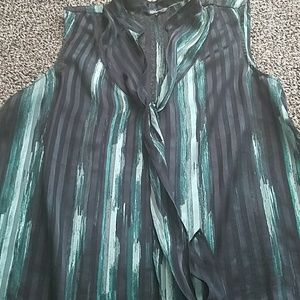 Daisy Fuentes Black and Green Sheer Top